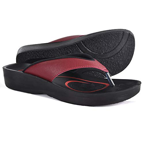 AEROTHOTIC Original Orthotic Comfort Thong Sandal and Flip Flops with Arch Support for Comfortable Walk (US Women 11, Matt Wine)