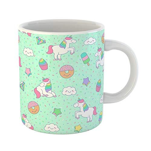 (Emvency 11 Ounces Coffee Mug Colorful Pattern Cute Pastel Unicorn Dessert Star Cloud Sprinkles Cupcake Popsicle Girl Kids Animal White Ceramic Glossy Tea Cup gift)