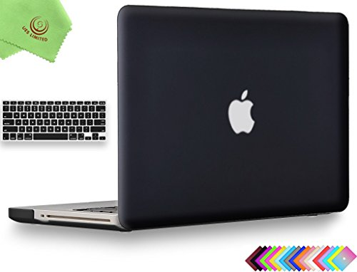 UESWILL 2in1 Smooth Soft-Touch Matte Frosted Hard Shell Case with Silicone Keyboard Cover for MacBook Pro 13 with CD-ROM (Non-Retina)(Model:A1278)+ Microfibre Cleaning Cloth, Black