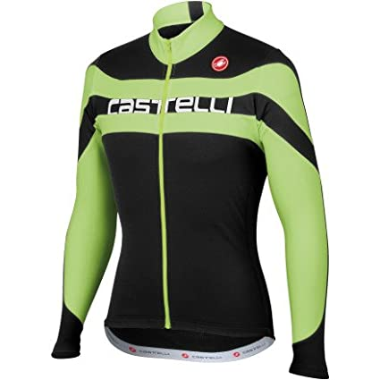 Castelli Giro Full-Zip Long Sleeve Jersey Black Green Fluo White Text eda1d45cf