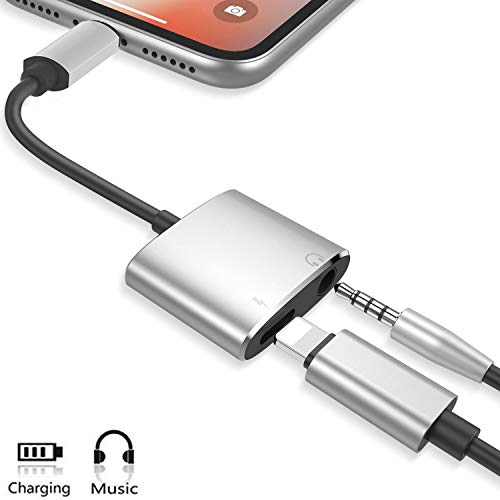 Headphone Adapter for iPhone Dongle Aux Audio to 3.5mm Cables Earphone Adaptor Headset Splitter for Music&Charging Compatible with iPhone Headphone Adapter 7/7Plus/8/8Plus /X/XS Max Suit for All iOS