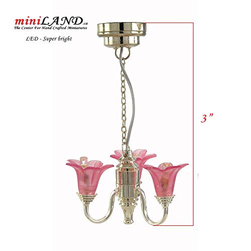 3 Arm Silver Pink Tulip Chandelier LED Super Bright with On/Off Switch for Dollhouse Miniature 1:12 Scale