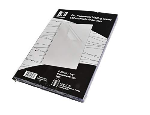 (BNC 7 Mil 8.75 Inches by 11.25 Inches PVC Binding Covers - Pack of 100, Clear)