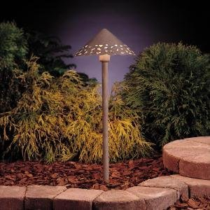 KICHLER 15443OB Cast Hammered Roof 1LT Incandescent/LED Hybrid Low Voltage Landscape Path and Spread Light, Olde Brick Finish by
