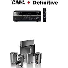 Yamaha RX-V485BL 5.1-Channel 4K Ultra HD AV Receiver + Definitive Technology Pro Cinema 800 System Black Bundle