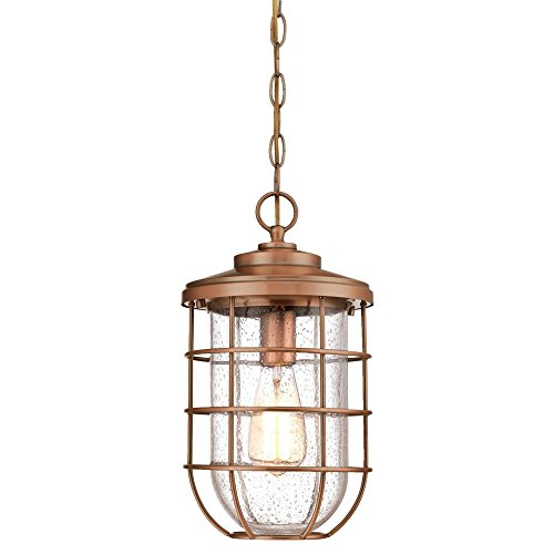 Pendant Light Copper (Westinghouse Lighting 6348100 Ferry One-Light Outdoor Pendant, Washed Copper Finish with Clear Seeded Glass,)