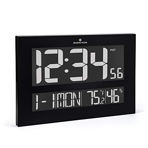 "Marathon CL030059 ""The Reverse Clock"" From the Designer Collection. Jumbo Atomic Wall Clock with Date, Indoor Temperature and Humidity. (Black) -"