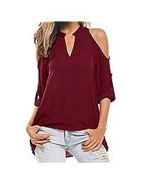 kingfansion Women Cold Shoulder Blouse Long Sleeve V-Neck Tops Pullover Shirt