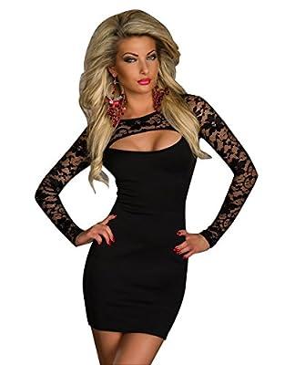 Kearia Women Sexy Black Lace Long Sleeve Cut Out Clubwear Dress Bodycon Patry Dress