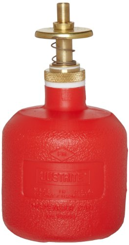 "UPC 697841005549, Justrite 14004 8 oz Capacity, 5 1/2"" H, 3 1/8"" O.D High-Density Polyethylene Red Dispenser Can"