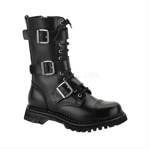Demonia Riot-12 Mannen Combat Boots Leer Zwart