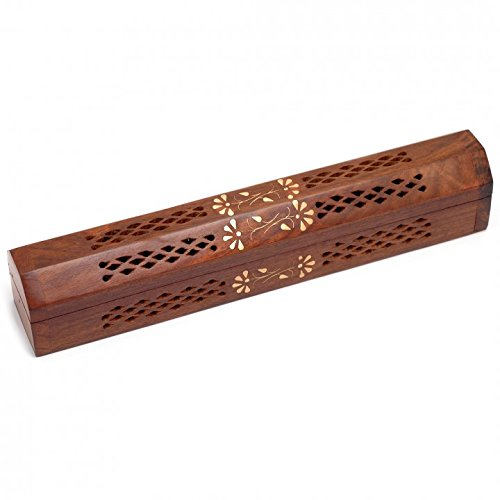 WhopperOnline Wooden Handmade Coffin Incense Burner Brass Inlays & Storage Incense Holder, Incense Stick Stand, Stick Holder, Incense Box with Storage Compartment and Ash Catcher - 12 inch Brass Inlay Stick Incense Burner
