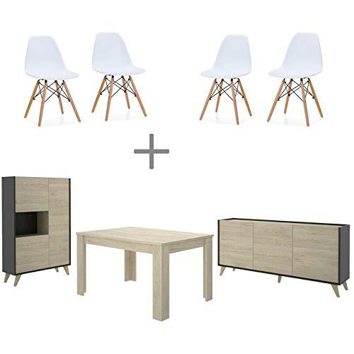 HABITMOBEL Conjunto salón Milan: 4 Sillas Diseño con Mueble ...