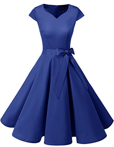 DRESSTELLS Retro 1950s Solid Color Cocktail Dresses Vintage Swing Dress with Cap-Sleeves RoyalBlue S -