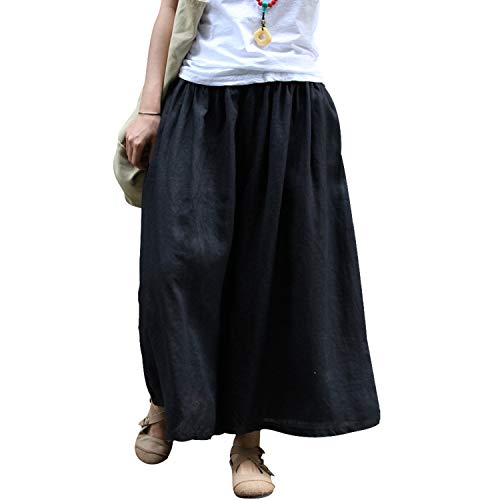 Duberess Women Casual Linen Trousers Cropped Loose Skirt Pants (S-L, Black) ()