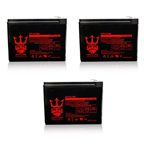 12V 10Ah Universal Sealed Lead Acid Deep-Cycle Battery [12volt 10amp] by Neptune - 3 Pack