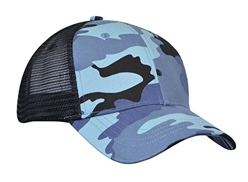 Mesh Trucker Cap Adjustable (KC Caps Ventilate Mesh Hat Baseball Cap Adjustable Trucker Golf Plain Snapback Hats (Blue CamoBlack))