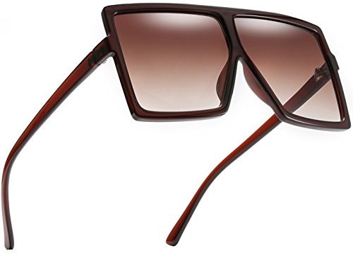 MAOLEN Square Oversized Flat Top Sunglasses for Women and Men ()
