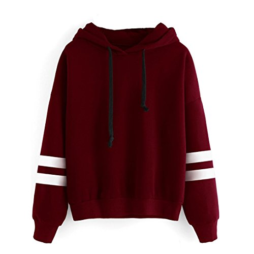 Sunhouse Women Autumn And Winter Loose Long Sleeve Fashion Casual Fleece Hooded Pullover Sweatshirt XXL Red
