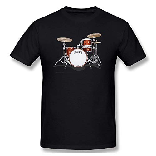 YXQMY Men's Gretsch-Drums-Gretsch-Catalina-Club-Jazz-percussio-Drumset Classic T-Shirt Black with Short Sleeve