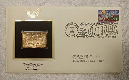Greetings from Louisiana - FDC & 22kt Gold Replica Stamp plus Info Card - Greetings from America Series (Postcard Theme) - Postal Commemorative Society, 2002 - The French Quarter, New Orleans, the Great Blue Heron