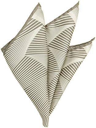 (ザ・スーツカンパニー) MADE IN ITALY/ジオメトリック柄シルクポケットチーフ ライトグレー×ライトグリーン