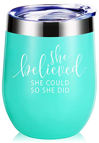 She Believed She Could So She Did Wine Glass Tumbler With Funny Sayings.Graduation Gifts,Congratulations Gifts,Promotion Gifts,Job Change Gifts.Inspiring Gifts for BFF,Women,Girls,Daughter Mug -