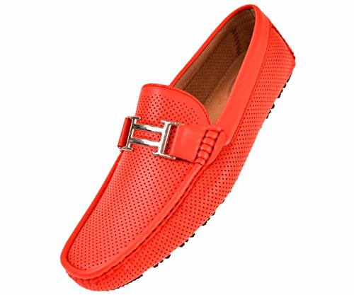 Mens Casual Country Club - Amali Men's Smooth and Perforated Driving Moccasin Casual Loafer Driving Shoes, Easy Comfortable Slip On Red