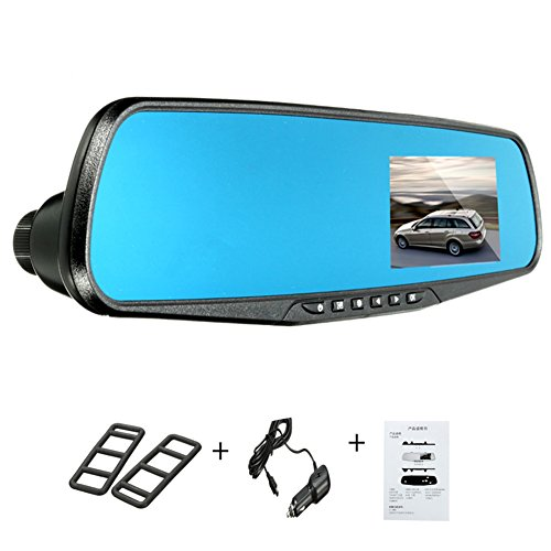Alotm 2.8'' 720P HD Mirror Cam - As Seen on TV Dash Cam 120°, Car Dash Camera, Car Video Recorder, Motion Detection, Built-In Rechargeable Battery, Loop Recording, Night Vision