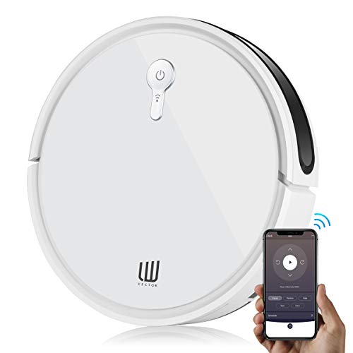 LW Vector Robot Vacuum Cleaner,1400Pa Super Power Suction,Wi-Fi Connectivity,Super-Thin Quiet,Up to 120mins Runtime/Automatic Self-Charging Robotic Vacuum for Pet Hair, Carpet & Hard Floor(White)