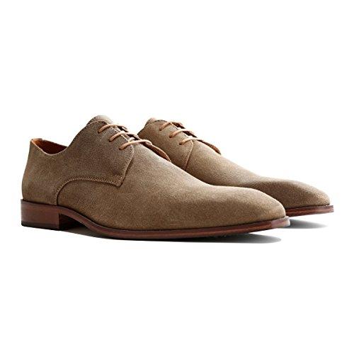Travelin Heathrow Suede Derby Schnürhalbschuhe Herren | Lederschuhe | Hochzeitschuhe | Business Schuhe Anzugschuhe | Wildleder Taupe 46 EU