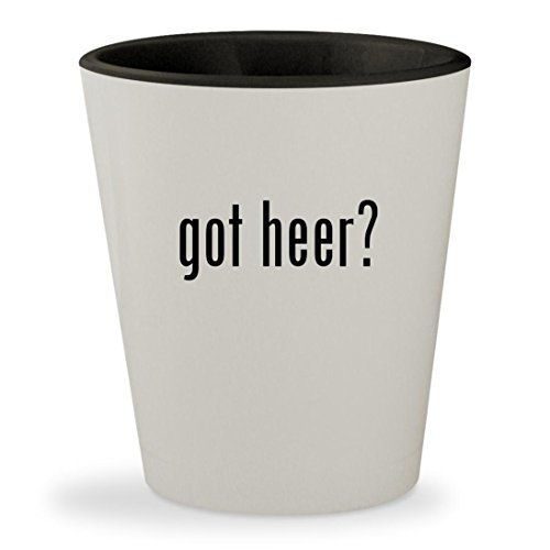 got heer? - White Outer & Black Inner Ceramic 1.5oz Shot (Heering Cherry Liqueur)