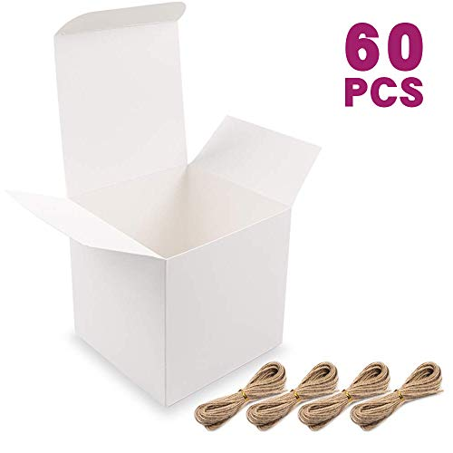 Moretoes White Boxes Small Gift Boxes 60pcs 4x4x4 Inches, Paper Gift Boxes with Lids for Gifts, Bridesmaid Proposal Box…