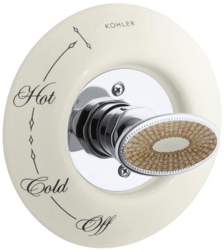 (Kohler K-262-PH-96 Antique Pheasant Ceramic Dial Plate and Handle Inset, Biscuit)