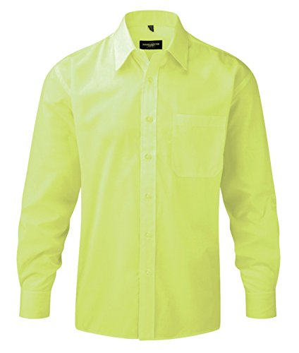 Russell Collection Uomo Camicia Lunghe Casual Basic Lime Classico Maniche PAvdPUxr