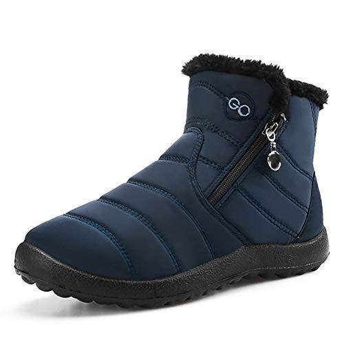 DUOYANGJIASHA Womens Snow Boots Fur Warm Ankle Booties Waterproof Comfortable Slip On Outdoor Winter Shoes Plus Size