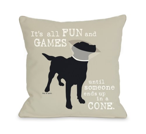 One Bella Casa Its All Fun and Games Throw Pillow, 18 by ...