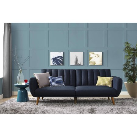 9 by Novogratz Brittany Linen Futon, Blue, Comfortable polyester and foam filling