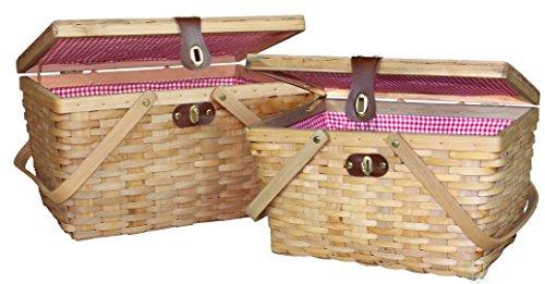 Vintiquewise(TM) Gingham Lined Picnic Baskets Set of 2