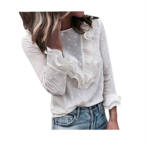- Aniywn Women O Neck Lace Polka Dot Long Sleeve Blouse Fancy Ruffle Casual Tunic Top White
