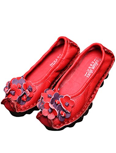 MatchLife Women Vintage Leather Flat Pump Floral Shoes Style8-Red FVvd7