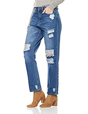 Lily Parker Women's High Waist Destroyed Ripped Distressed Straight Jean