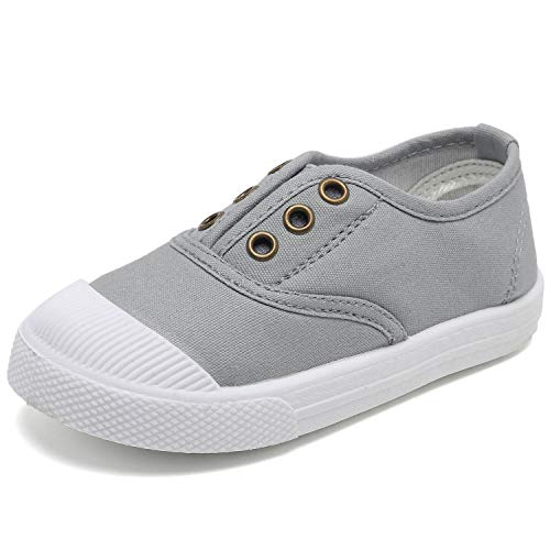 (Kids Canvas Sneaker Slip-on Baby Boys Girls Casual Fashion shoes-Gray-22N1 Grey)