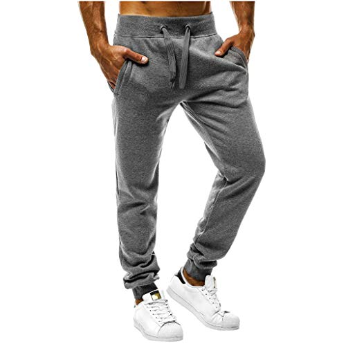 - iYYVV Mens Thin Overalls Training Casual Pocket Sport Workout Jogging Trouser Pants Dark Gray