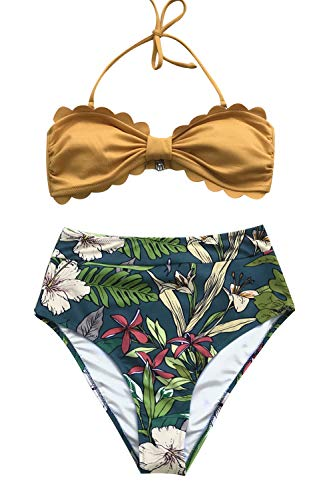 (CUPSHE Women's Scallop Top High Waisted Bikini Yellow and Floral Large)