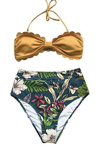 CUPSHE Damen Bikini Set Neckholder Wellenkante Bikinioberteil High Waist Strandmode Zweiteiliger Badeanzug