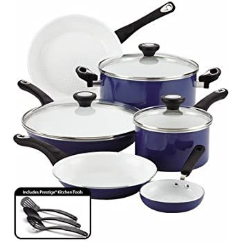 Farberware PURECOOK Ceramic Nonstick Cookware 12-Piece Cookware Set, Blue