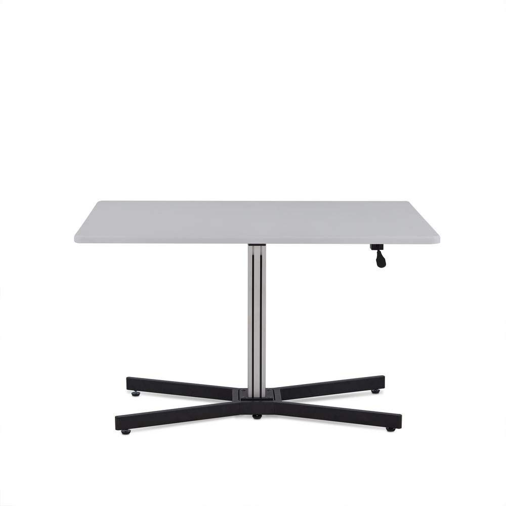 Major-Q Height Adjustable Sit Stand Writing Table for Living Room/Bedroom/Office, White Top 47'' x 32'' x 31''-43'' H by Major-Q