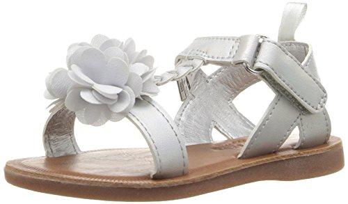 OshKosh B'Gosh Pasha Girl's T-Strap Sandal, Silver, 7 M US ()