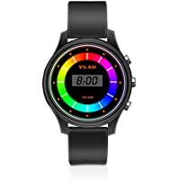 Rainbow Coloured Lights Kids Watch - 7 Colors Flashing 50M Waterproof Children Electronic Watch, Washable Comfortable Watchband Digital Child Wrist Watch for Boys and Girls as Christmas Gift (Black)